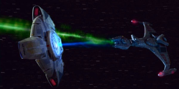 USS Defiant uses its modified tractor beam