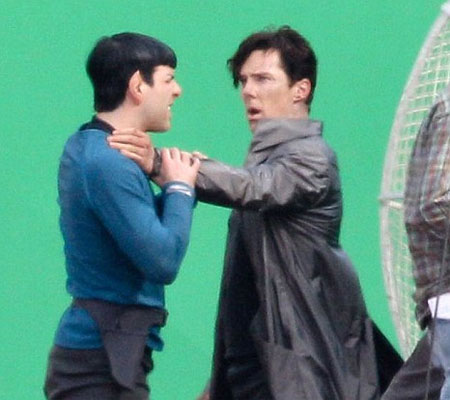 Benedict Cumberbatch and Zachary Quinto filming a fight scene for the Star Trek sequel