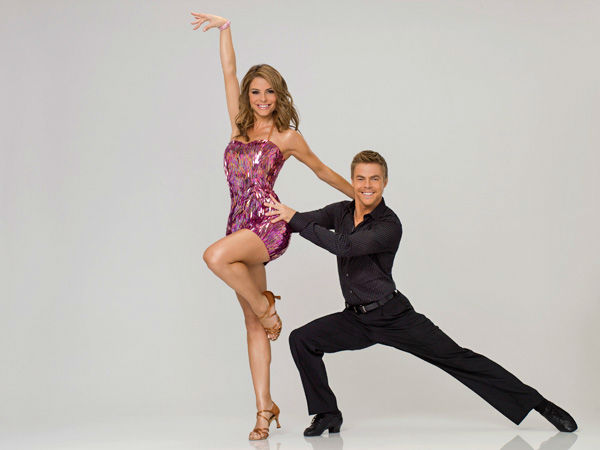Menounos and DWTS partner Derek Hough