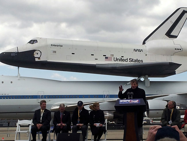 Leonard Nimoy & Shuttle Enterprise in New York City on April 27, 2012