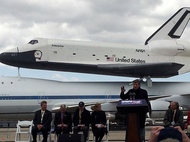 Leonard Nimoy & Shuttle Enterprise in New York City on April 27, 2012