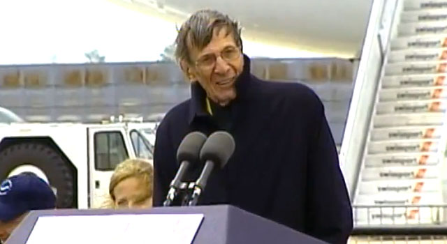 Leonard Nimoy Welcomes Space Shuttle Enterprise to New York City