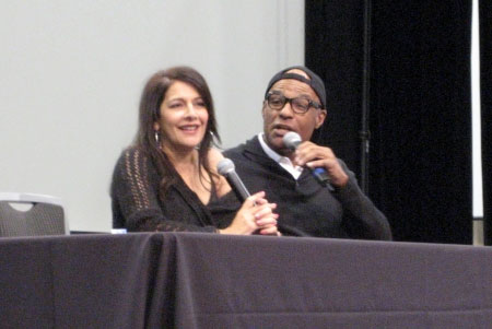 Marina Sirtis & Michael Dorn on stage together at Fan Expo