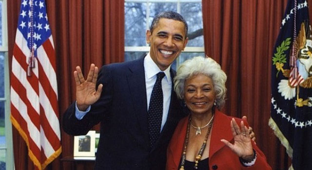 President Obama Gives a Vulcan Salute with Nichelle Nichols