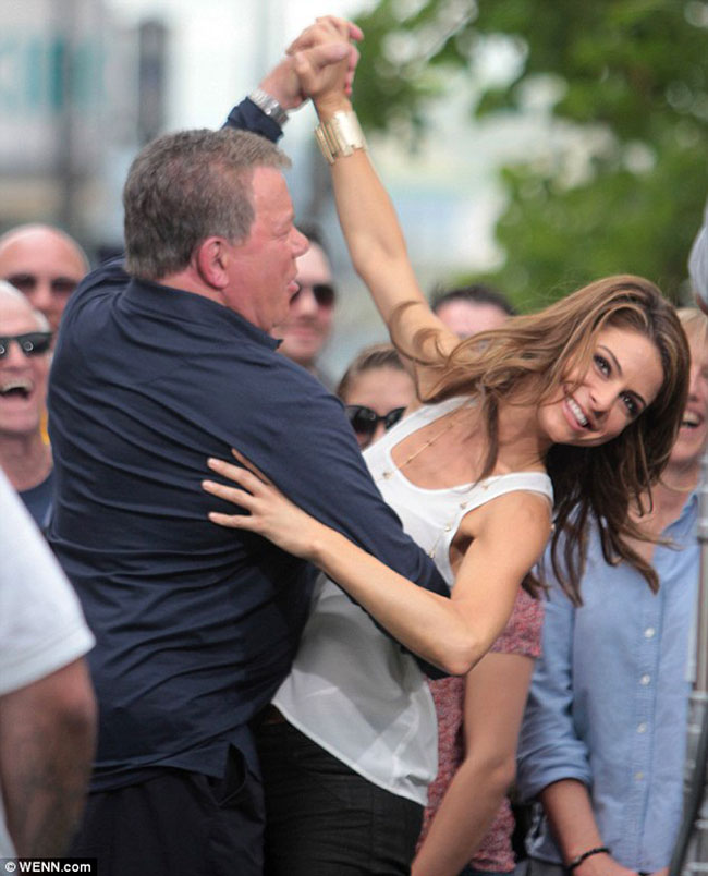 William Shatner Locks Lips With Maria Menounos