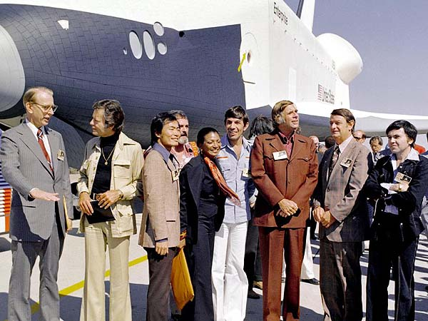 NASA's orbiter Enterprise is greeted by members of the original Star Trek cast in 1976 at the Palmdale manufacturing facilties.