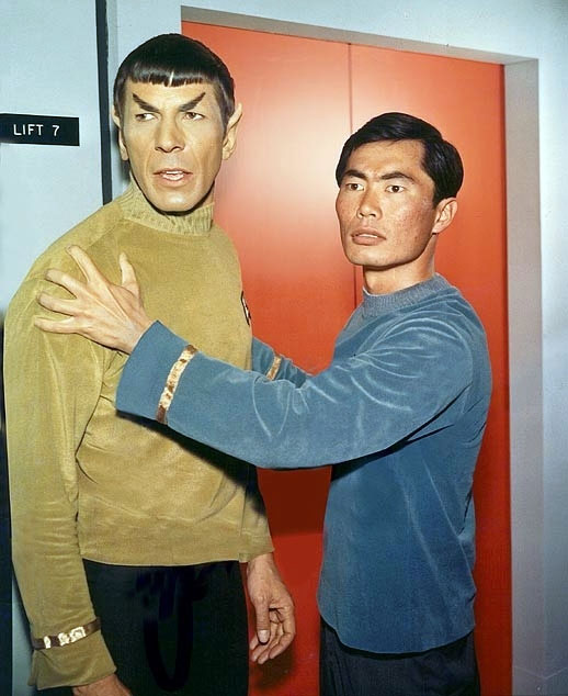 Takei with Leonard Nimoy on the set of Star Trek