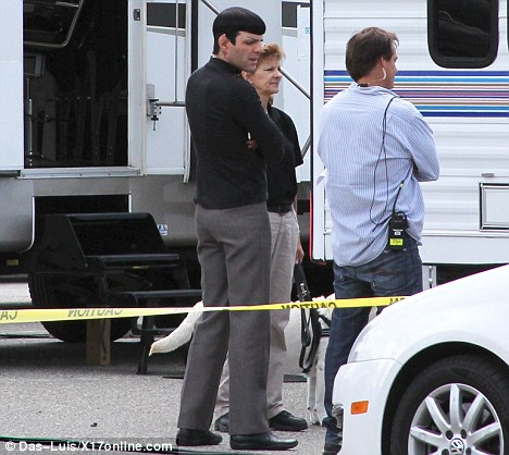 Zachary Quinto as Spock outside a trailer while filming the Star Trek sequel
