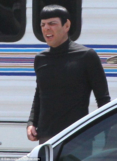 Zachary Quinto as Spock on set filming the Star Trek sequel
