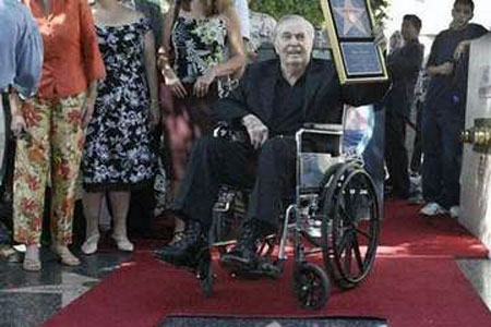 James Doohan in 2004 receiving his star on the Hollywood Walk of Fame
