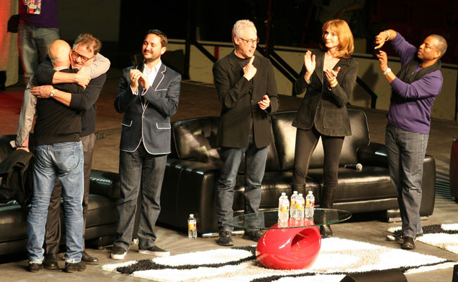 The TNG cast celebrate a very special moment