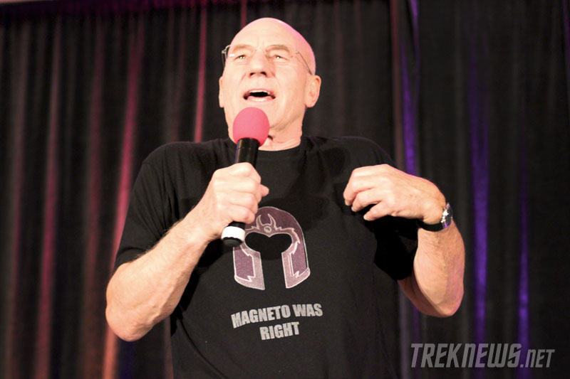 "Patrick Stewart wearing his ""Magneto was right"" t-shirt"
