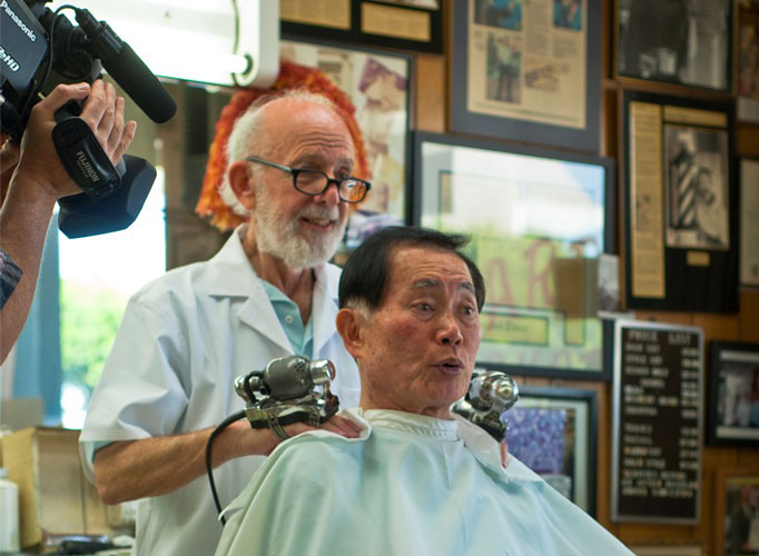 George Takei getting a haircut in LA