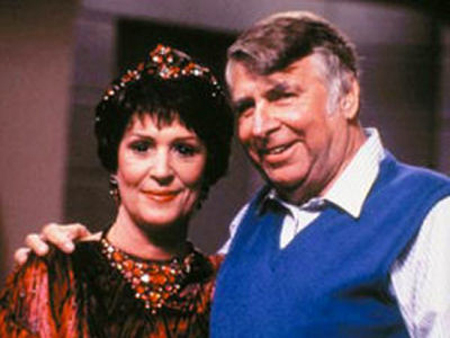 Majel and Gene Roddenberry on the set of Star Trek: TNG