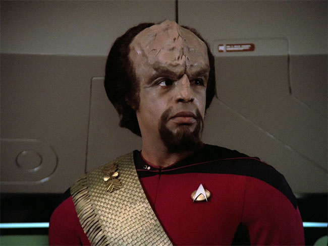"Dorn as Worf in ""Encounter at Farpoint"""