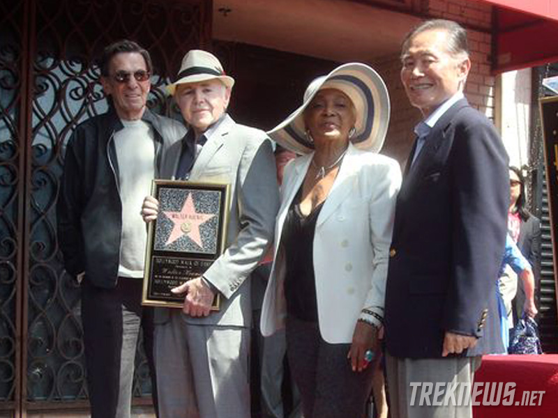 Koenig with Leonard Nimoy, Nichelle Nichols and George Takei