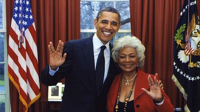 Nichols with Obama in February 2012