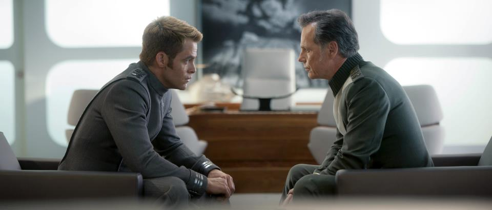 Chris Pine as Kirk and Bruce Greenwood as Pike