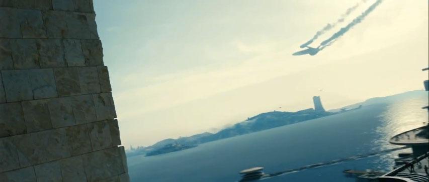 The Enterprise plummets toward Earth