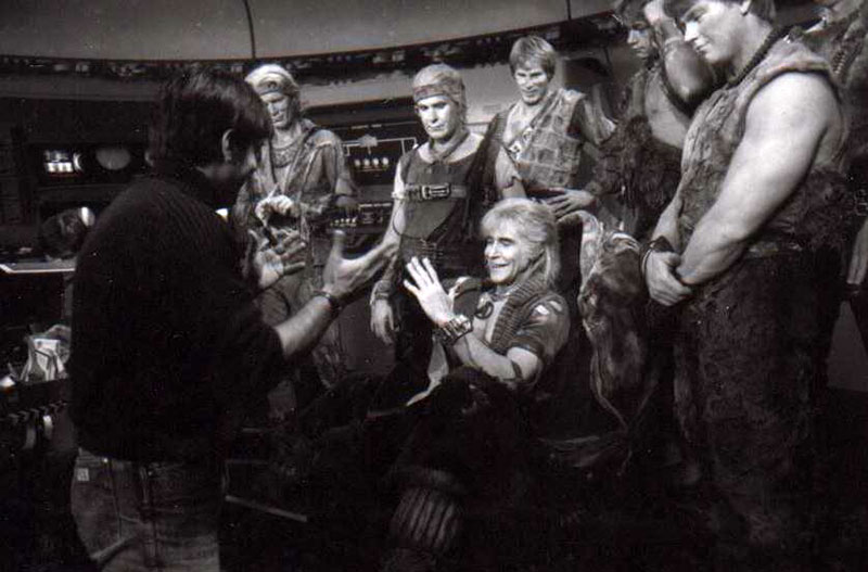 A rare photo on the set of Star Trek II: The Wrath of Khan