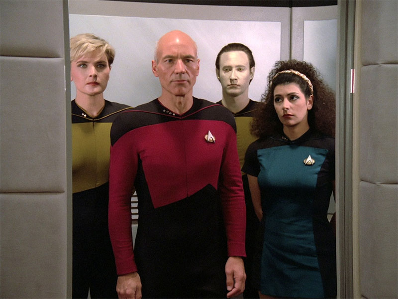 """Patrick Stewart as Captain Picard in TNG's pilot episode, """"Encounter at Farpoint"""""""