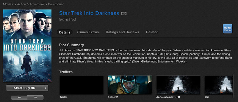 Star Trek Into Darkness on iTunes