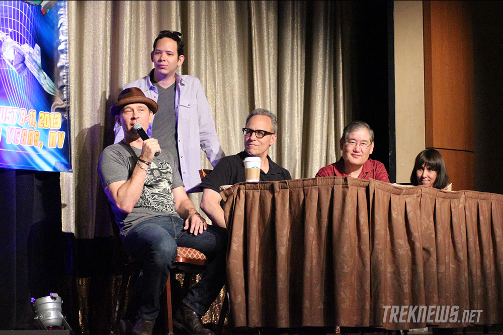 Connor Trinneer, Roger Lay, Jr., Doug Drexler and Mike and Denise Okuda