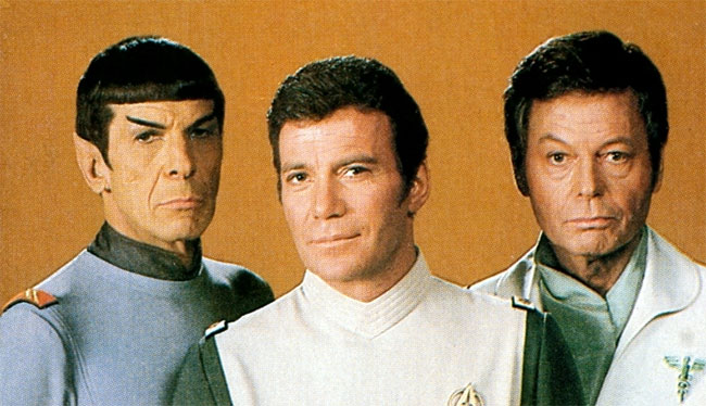 Nimoy, Shatner, and Kelley in 1979 pose for a Star Trek: The Motion Picture publicity shot