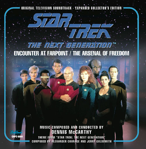 Star Trek: The Next Generation Expanded 'Encounter at Farpoint' and 'Arsenal of Freedom' soundtrack cover art