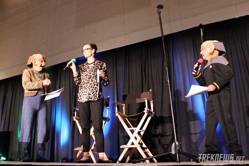 Terry Farrell joins Rom and Nog on stage