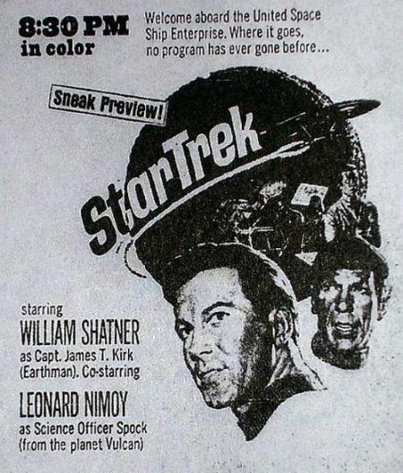 Advertisement for 'Star Trek's' 1966 premiere