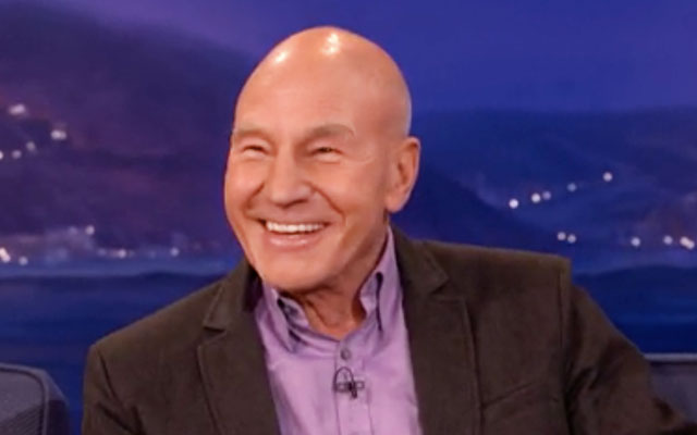 Sir Patrick Stewart Talks Knighthood, Pizza, Obscene Gestures on 'Conan'