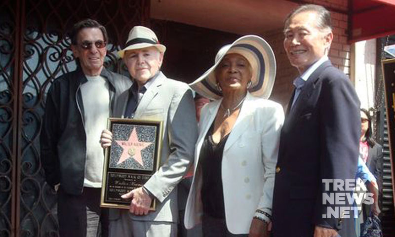 Nimoy, Koenig, Nichols and Takei at the Hollywood Walk of Fame ceremony in September 2012