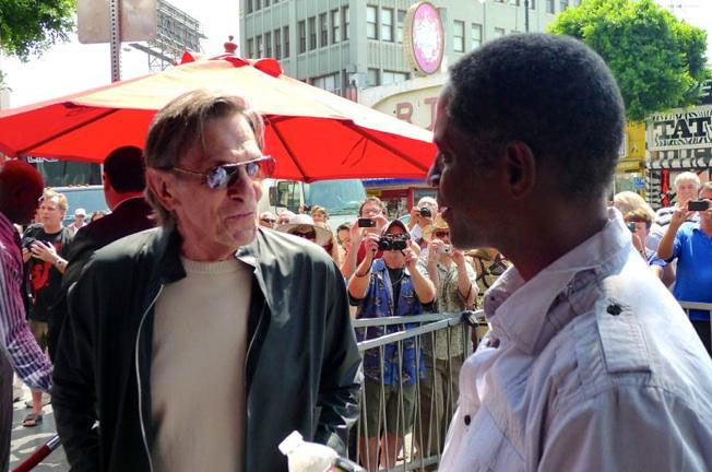 Leonard Nimoy and Tim Russ