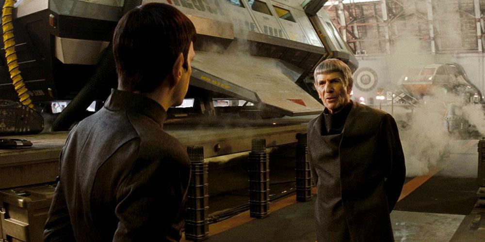 Spock (Quinto) meets Spock Prime (Nimoy) in Star Trek (2009)