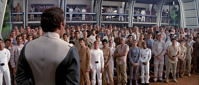 Admiral Kirk addressing the crew about their mission