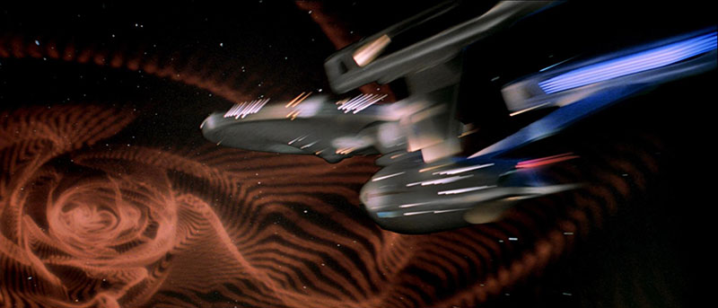 The Enterprise trapped in a wormhole of its own creation