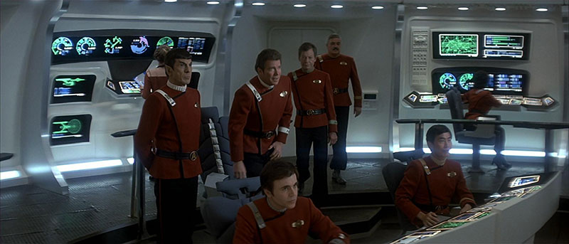 The first appearance of the Okudagrams as seen in <em>Star Trek IV: The Voyage Home</em>
