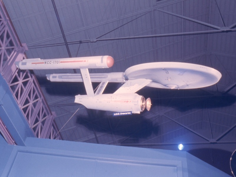 The Star Trek starship Enterprise model on display in the Smithsonian Arts and Industries building in 1975.
