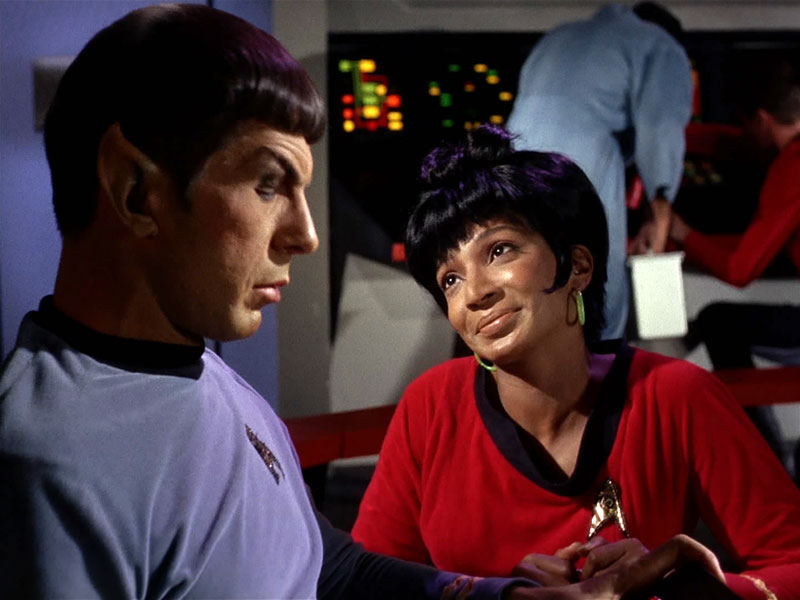 "Nichelle Nichols and Leonard Nimoy in ""The Man Trap""."