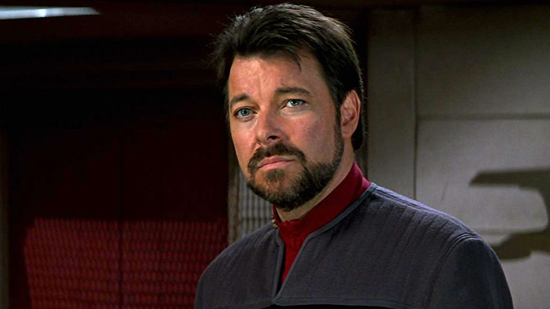 Jonathan Frakes as William Riker, now promoted to Admiral