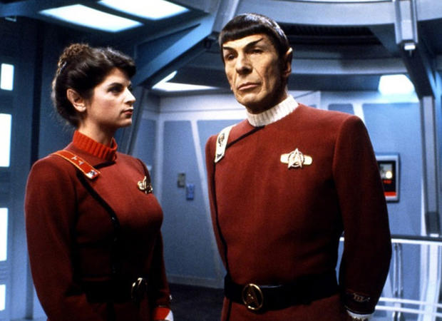 "Nimoy and Kirstie Alley filming ""The Wrath of Khan"""