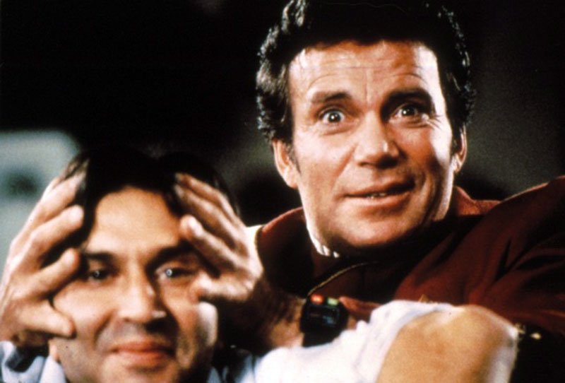 "Nicholas Meyer and William Shatner on the set of ""Wrath of Khan"""