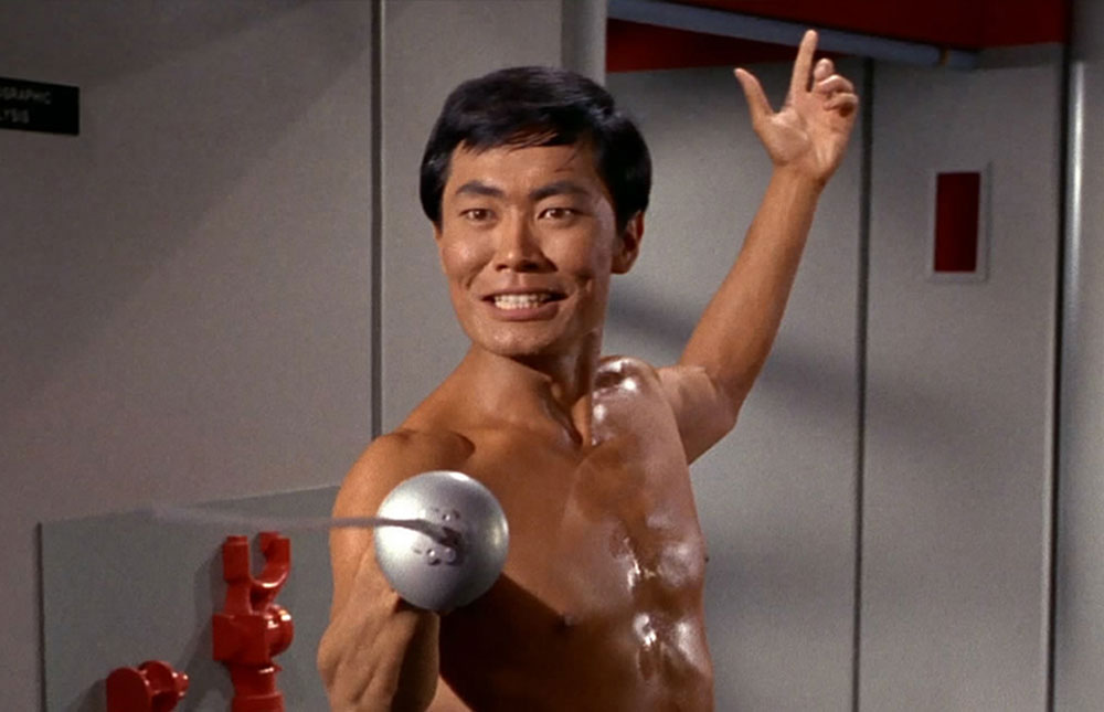 "Takei as Sulu in the Original Series episode ""The Naked Time"""