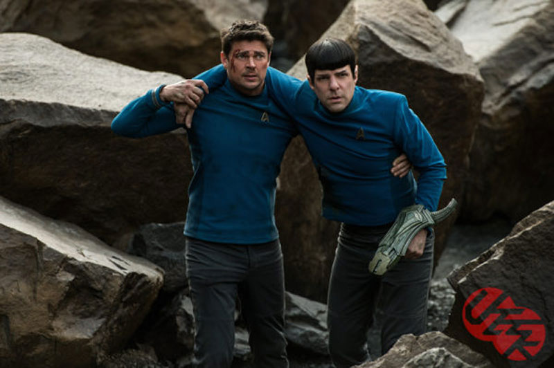Karl Urban and Zachary Quinto as Bones and Spock