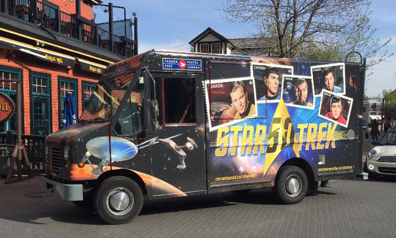Canada Post's specially wrapped Star Trek delivery vehicles