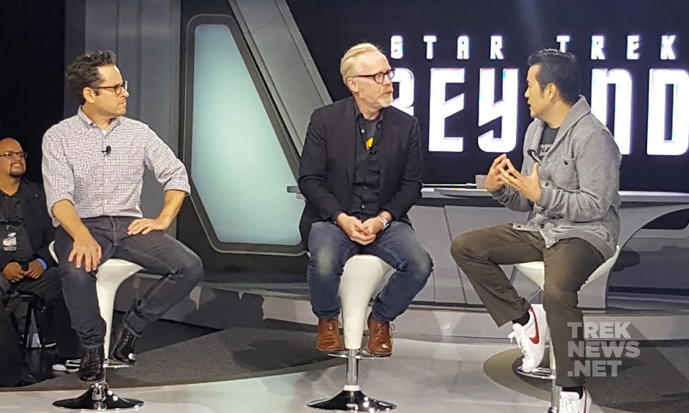 JJ Abrams, Adama Savage and Star Trek Beyond director Justin Lin (photo: Anna Yeutter/TrekNews.net)
