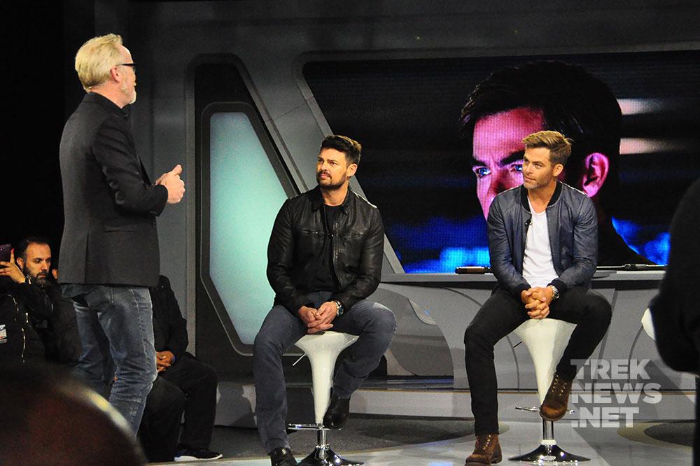Adam Savage with Karl Urban and Chris Pine