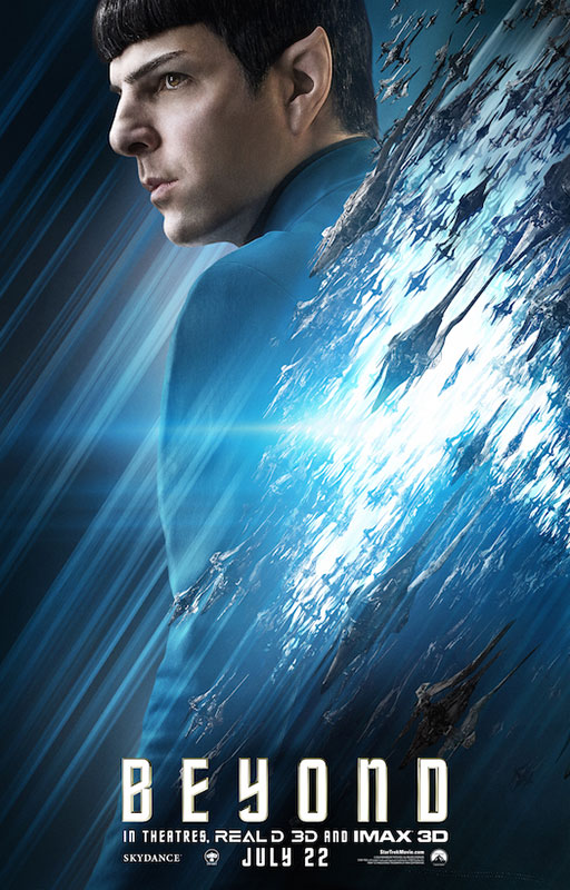 STAR TREK BEYOND poster with Zachary Quinto as Spock