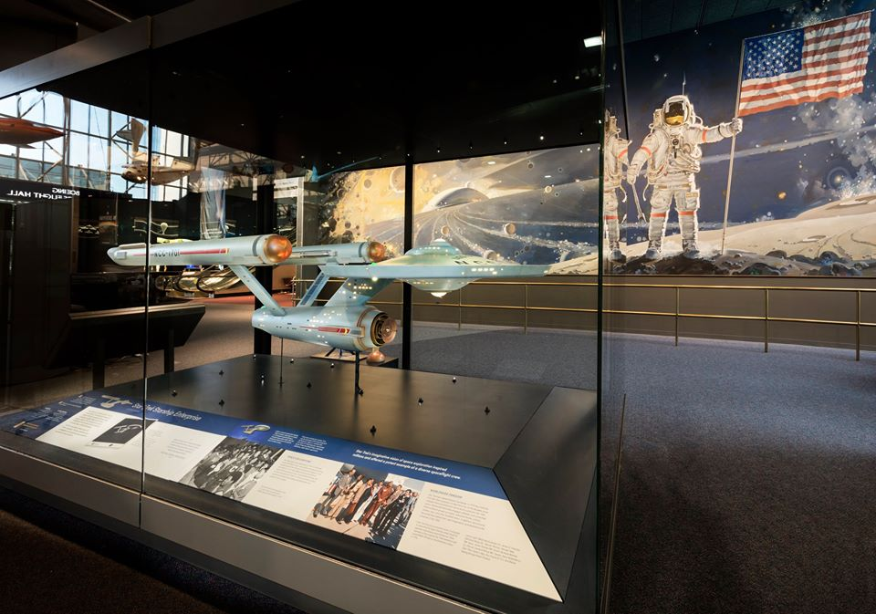 The restored Enterprise on exhibit in the Boeing Milestones of Flight Hall